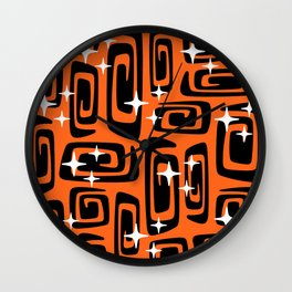Mid Century Modern Cosmic Galaxies 435 Black and Orange Wall Clock