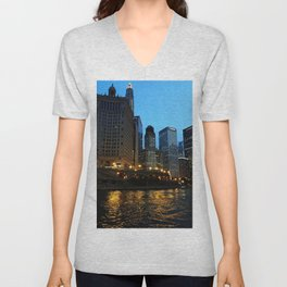 Chicago River and Buildings at Dusk Color Photo Unisex V-Neck