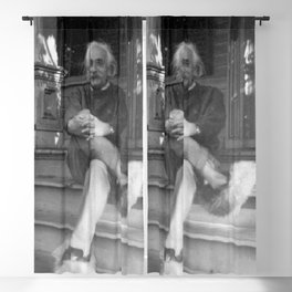 Albert Einstein in Fuzzy Slippers Classic Black and White Satirical Photography - Photographs Blackout Curtain