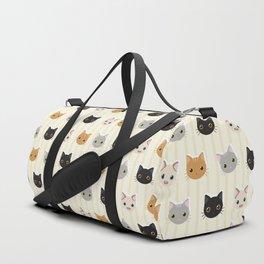 Cute Kitten & Stripes Pattern Duffle Bag