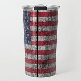 USA flag - on grainy wood Travel Mug