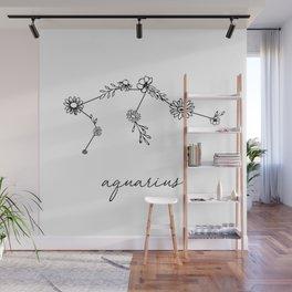 Aquarius Floral Zodiac Constellation Wall Mural