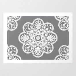 Floral Doily Pattern | Grey and White Art Print