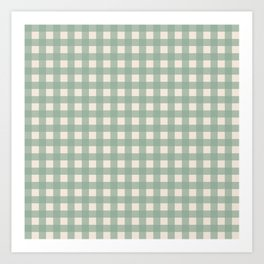Buffalo Checks Plaid in Sage Green on Cream Art Print