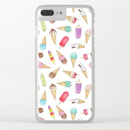 Scattered Ice Creams and Ice Lollies Clear iPhone Case