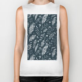 Feathers And Leaves Abstract Pattern Black And White Biker Tank