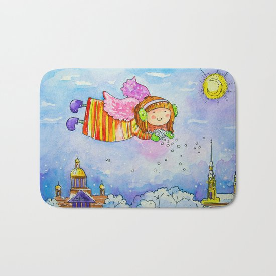 snow angel Bath Mat