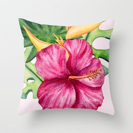 Tropical Hibiscus Summer Bouquet Throw Pillow