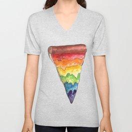 the gay pizza Unisex V-Neck