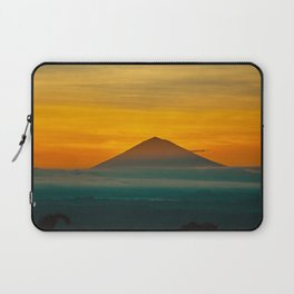Mountain Volcano In The Distant Green Yellow Orange Sunset Hues Landscape Photography Laptop Sleeve