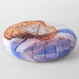 Watercolor Physalis in Light Floor Pillow