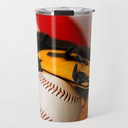 Baseball Sits In Glove On American Flag Travel Mug