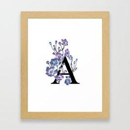 Letter 'A' Anemone Flower Typography Framed Art Print