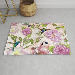 Vintage Roses and Hummingbird Pattern Rug