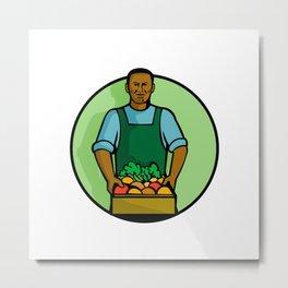 African American Green Grocer Greengrocer Mascot Metal Print