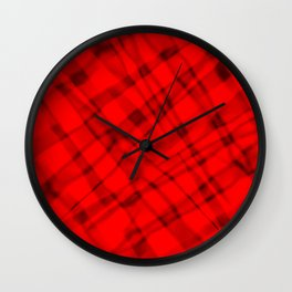 Bright metal mesh with red intersecting diagonal lines and stripes. Wall Clock