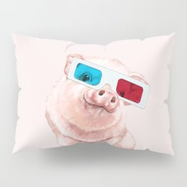 Baby Pink Pig Wear Glasses Pink Pillow Sham