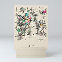 Colorful City Maps: Mecca, Saudi Arabia Mini Art Print