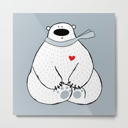 Unshaved polar bear being in love Metal Print