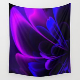 Stylized Half Flower Indigo Wall Tapestry