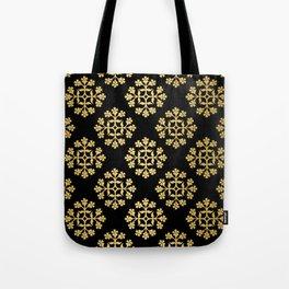 Gold on Black Repeating Tile Digital Design Tote Bag