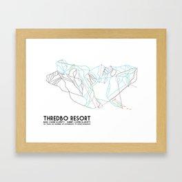 Thredbo, NSW, Australia - Minimalist Trail Map Framed Art Print