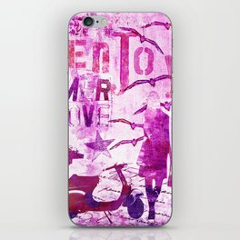 pink urban mixed media art iPhone Skin