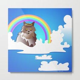 Momma Kitty & Rainbow Bridge Metal Print