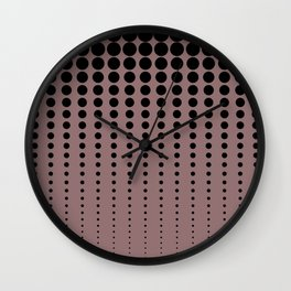 Reduced Black Polka Dots Pattern on Solid Pantone Red Pear Background Wall Clock