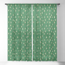 Green teardrops, might have been gold? Sheer Curtain