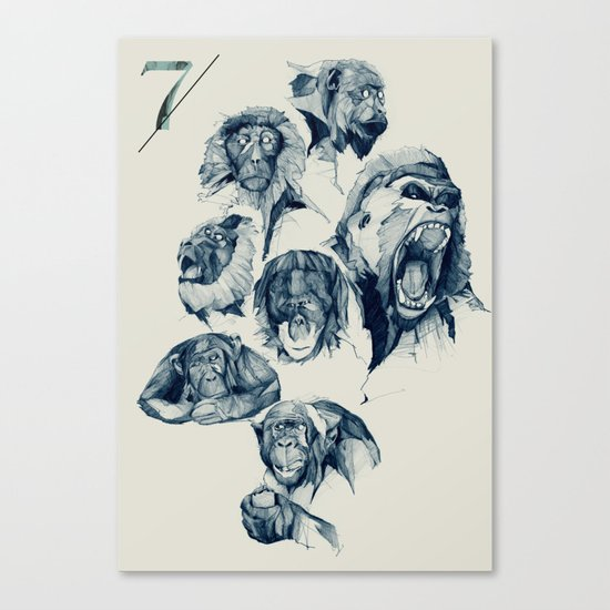 Seven Monkeys Canvas Print