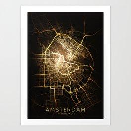 Amsterdam city night light map Art Print