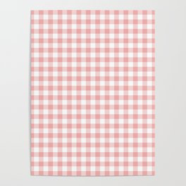 Lush Blush Pink and White Gingham Check Poster