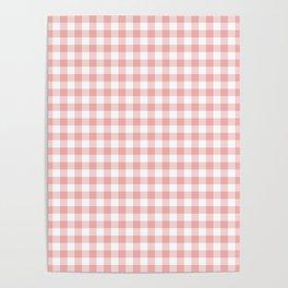 Lush Blush Pink and White Gingham Check Poster