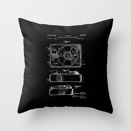 Turntable Patent - White on Black Throw Pillow