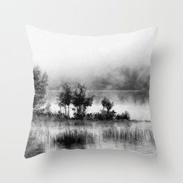 Watercolor Landscape on Water (Black and White) Throw Pillow