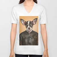 chihuahua V-neck T-shirts featuring Chihuahua  by Life on White Creative