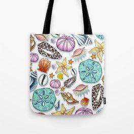 Illustrated Seashell Pattern Tote Bag