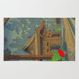 Asano Takeji Japanese Woodblock Print Vintage Mid Century Art Shinto Shrine Forest Rug