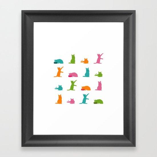 Cats Multicolor Framed Art Print