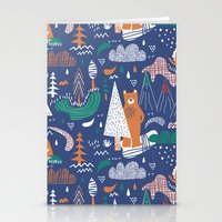 camp Stationery Cards featuring Bear camp by Demi Goutte