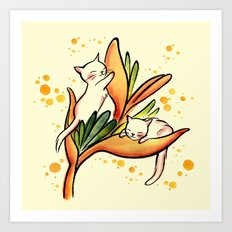 Yellow Heliconia and Cat Twins Art Print