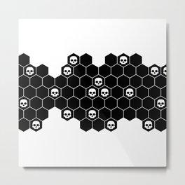 Honey Skulls - Black & White Metal Print