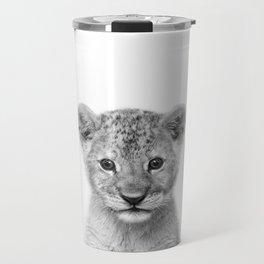 Baby Lion Black & White, Baby Animals Art Print by Synplus Travel Mug
