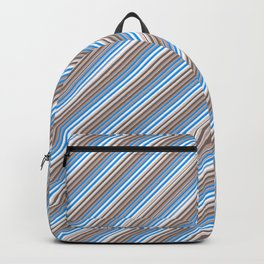 Blue Grey White Inclined Stripes Backpack