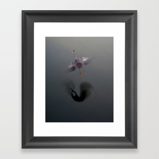 Blue Heron Abstract Framed Art Print