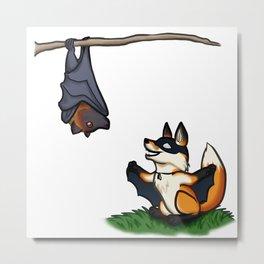 Bat Foxes Metal Print
