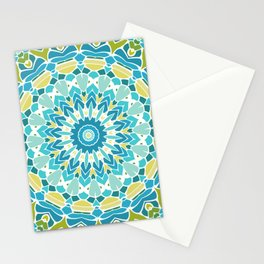Lime Green and Turquoise Blue Mandala Stationery Cards