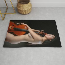 0205-JC Nude Cellist with Her Cello and Bow Naked Young Woman Musician Art Sexy Erotic Sweet Sensual Rug