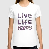 snorlax T-shirts featuring Live Life Happy Poster by koppen Code